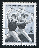 Male gymnasts with practice bars Stock Photo