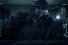 Male hacker actions at night 1 Royalty Free Stock Photo