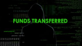 Male hacker transferring funds, money system protection, online banking error