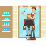 Male hairdresser brushing hair of bearded man. Colorful cartoon character vector Illustration Royalty Free Stock Images