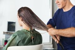 Male Hairdresser Combing Client's Wet Hair. Male hairdresser combing female client's wet hair in salon stock images
