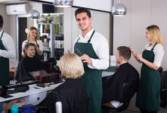 Male hairdresser at the work Royalty Free Stock Images
