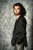 Male hairstyle. Fashion shot of a stylish handsome man. Hairstyle Royalty Free Stock Photo