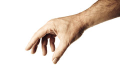 Male hand. Well shaped male hand and arm reaching for something.personal editing Stock Image