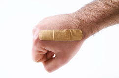 Male hand with  band aid Royalty Free Stock Photography