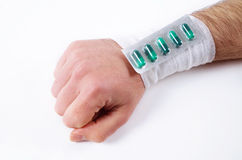 Male hand with bandage Royalty Free Stock Images