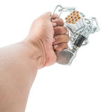 Male Hand Chain Cigarette III. Concept image of cigarette addiction locked away Stock Photography
