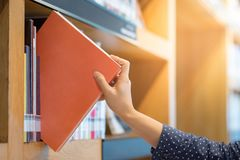 Male hand picking orange book in library Royalty Free Stock Photos