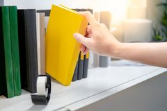 Male hand picking yellow book on bookshelf. Male hand choosing and picking yellow book on white bookshelf in public library. Education research and self learning Stock Photography