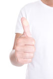 Male hand with circle medical adhesive patch thumbs up isolated Royalty Free Stock Photos
