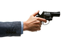 Male hand cocking revolver gun Royalty Free Stock Images