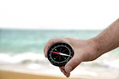 Male hand with Compass Stock Photo