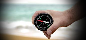 Male hand with Compass Royalty Free Stock Photos
