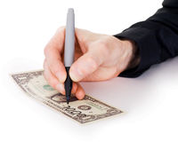 Male hand draw nil on dollar Stock Image