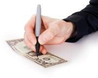 Male hand draw nil on dollar Stock Image