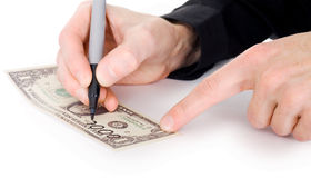 Male hand draw nil on dollar Royalty Free Stock Image