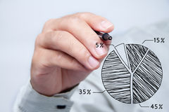 Male hand drawing. Male hand drawing a chart Royalty Free Stock Image