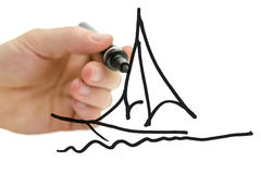 Male hand drawing boat on a virtual screen Stock Image