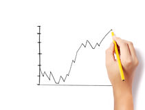 Male hand drawing a chart isolated show Royalty Free Stock Image