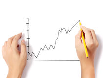 Male hand drawing a chart isolated show Royalty Free Stock Photos