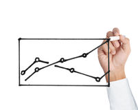 Male hand drawing a chart isolated show Royalty Free Stock Photo