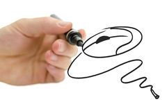 Male hand drawing computer mouse Royalty Free Stock Photos