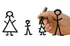Male hand drawing family on virtual white board Royalty Free Stock Photography