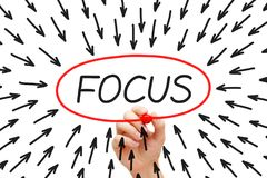 Focus Arrows Concept Drawn With Marker Royalty Free Stock Photography