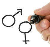 Male hand drawing gender symbols on a virtual whiteboard. Closeup of male hand drawing gender symbols on a virtual whiteboard stock photo
