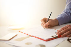 The male hand drawing a graph of growth Royalty Free Stock Photography