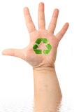 Male hand with drawing  Recycle Symbol. On it ( ecology concept Royalty Free Stock Image