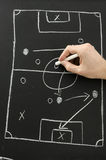 Hand draws a football play on a chalkboard. Male hand draws a football play on a chalkboard with chalk. Top view royalty free stock photo