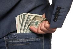 Male hand draws out money from pocket Royalty Free Stock Photography
