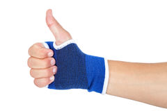 Male hand with elastic bandage thumbs up Royalty Free Stock Image