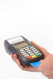Male hand enters PIN code on payment terminal Royalty Free Stock Images