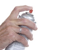 Male hand with finger on aerosol can. Male hand pressing aerosol spray with copy space on right Stock Images