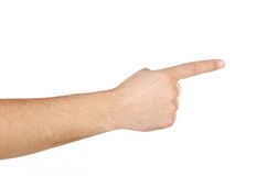 Male hand with finger showing right isolated Stock Images