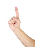 Male hand with finger up isolated Stock Images