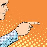 A male hand with forefinger. A man pointing a finger. A man explaining something. Businessman giving advice. Concept idea of advertisement and promo. Halftone Royalty Free Stock Photos