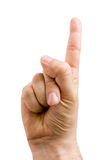 Male Hand Gesture. Male hand pointing up (or showing numbers one) isolated on white stock image