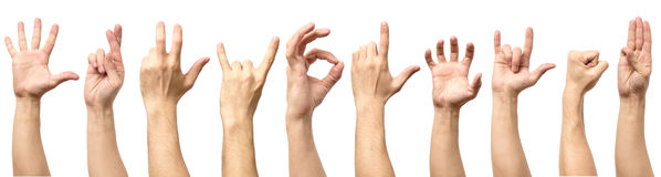 Male hand gesture and sign collection isolated over white backgr Royalty Free Stock Image