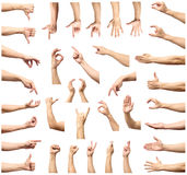 Male hand gesture and sign collection isolated over white backgr Royalty Free Stock Photo