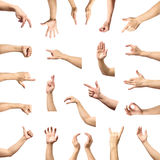 Male hand gesture and sign collection isolated over white backgr Stock Image