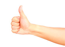 Male hand gesturing show thump up isolated. On white background, OK concept Royalty Free Stock Photography
