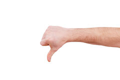 Male hand gesturing thumb down sign. Male hand showing thumb down failure hand sign gesture. Gestures and signs. Body language on white background Stock Images