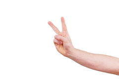 Male hand gesturing victory sign. Male hand showing thumb up, ok, all right, victory hand sign gesture. Gestures and signs. Body language on white background Royalty Free Stock Photos
