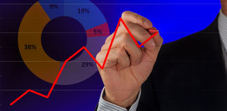 Male hand and graph. Male hand drawing a graph royalty free stock photo