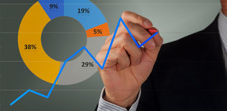 Male hand and graph. Male hand drawing a graph royalty free stock photos