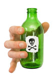 Male hand with green bottle. To hold male hand green bottle pictured skull Stock Image