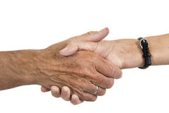 Male hand gripping female hand Royalty Free Stock Image
